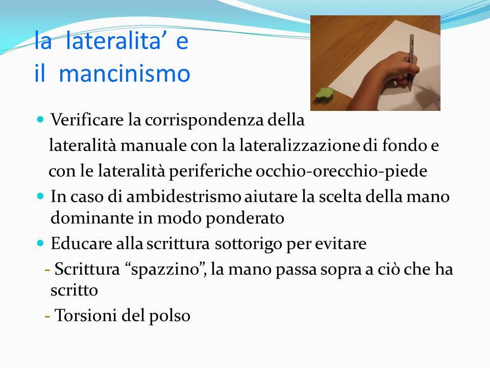 la lateralita' e il mancinismo Verificare la corrispondenza della lateralità manuale con la lateralizzazione di fondo e con le lateralità periferiche