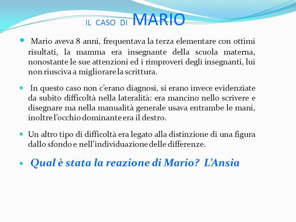 IL CASO DI MARIO Mario aveva 8 anni, frequentava la terza elementare con ottimi risultati, la mamma era insegnante della scuola materna, nonostante le