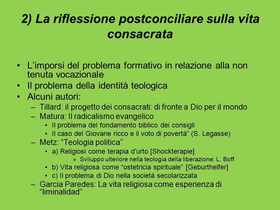 2) La riflessione postconciliare sulla vita consacrata L'imporsi del problema formativo in relazione alla non tenuta vocazionale Il problema della ide