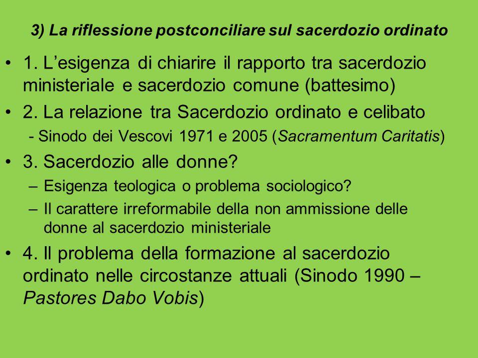 3) La riflessione postconciliare sul sacerdozio ordinato 1. L'esigenza di chiarire il rapporto tra sacerdozio ministeriale e sacerdozio comune (battes