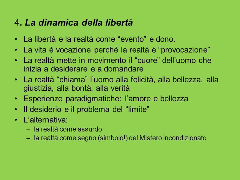 """4. La dinamica della libertà La libertà e la realtà come """"evento"""" e dono. La vita è vocazione perché la realtà è """"provocazione"""" La realtà mette in mov"""