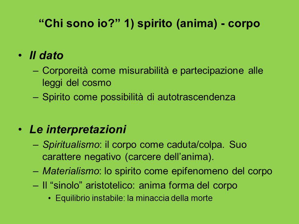 """""""Chi sono io?"""" 1) spirito (anima) - corpo Il dato –Corporeità come misurabilità e partecipazione alle leggi del cosmo –Spirito come possibilità di aut"""