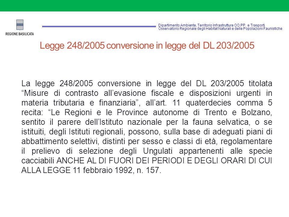 Legge 248/2005 conversione in legge del DL 203/2005 La legge 248/2005 conversione in legge del DL 203/2005 titolata Misure di contrasto all'evasione fiscale e disposizioni urgenti in materia tributaria e finanziaria , all'art.