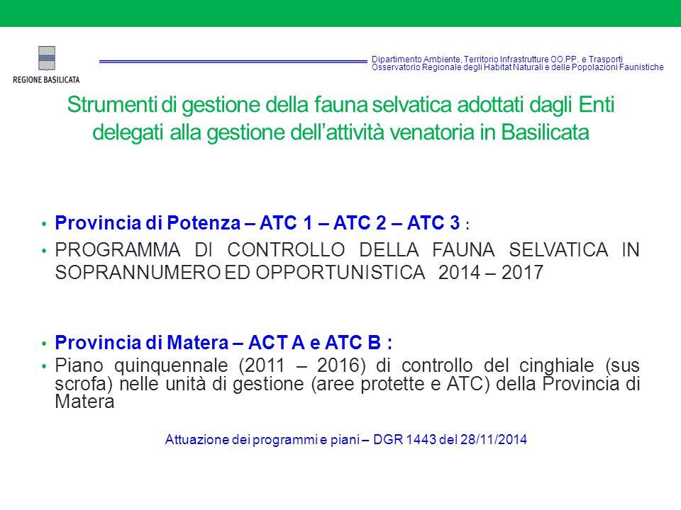 Strumenti di gestione della fauna selvatica adottati dagli Enti delegati alla gestione dell'attività venatoria in Basilicata Provincia di Potenza – ATC 1 – ATC 2 – ATC 3 : PROGRAMMA DI CONTROLLO DELLA FAUNA SELVATICA IN SOPRANNUMERO ED OPPORTUNISTICA 2014 – 2017 Provincia di Matera – ACT A e ATC B : Piano quinquennale (2011 – 2016) di controllo del cinghiale (sus scrofa) nelle unità di gestione (aree protette e ATC) della Provincia di Matera Attuazione dei programmi e piani – DGR 1443 del 28/11/2014 Dipartimento Ambiente, Territorio Infrastrutture OO.PP.