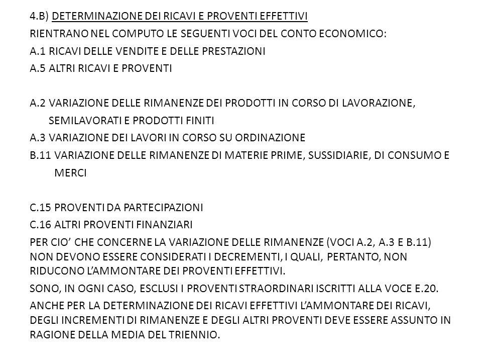 4.B) DETERMINAZIONE DEI RICAVI E PROVENTI EFFETTIVI RIENTRANO NEL COMPUTO LE SEGUENTI VOCI DEL CONTO ECONOMICO: A.1 RICAVI DELLE VENDITE E DELLE PRESTAZIONI A.5 ALTRI RICAVI E PROVENTI A.2 VARIAZIONE DELLE RIMANENZE DEI PRODOTTI IN CORSO DI LAVORAZIONE, SEMILAVORATI E PRODOTTI FINITI A.3 VARIAZIONE DEI LAVORI IN CORSO SU ORDINAZIONE B.11 VARIAZIONE DELLE RIMANENZE DI MATERIE PRIME, SUSSIDIARIE, DI CONSUMO E MERCI C.15 PROVENTI DA PARTECIPAZIONI C.16 ALTRI PROVENTI FINANZIARI PER CIO' CHE CONCERNE LA VARIAZIONE DELLE RIMANENZE (VOCI A.2, A.3 E B.11) NON DEVONO ESSERE CONSIDERATI I DECREMENTI, I QUALI, PERTANTO, NON RIDUCONO L'AMMONTARE DEI PROVENTI EFFETTIVI.