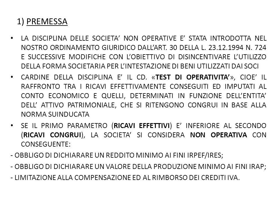 1) PREMESSA LA DISCIPLINA DELLE SOCIETA' NON OPERATIVE E' STATA INTRODOTTA NEL NOSTRO ORDINAMENTO GIURIDICO DALL'ART.