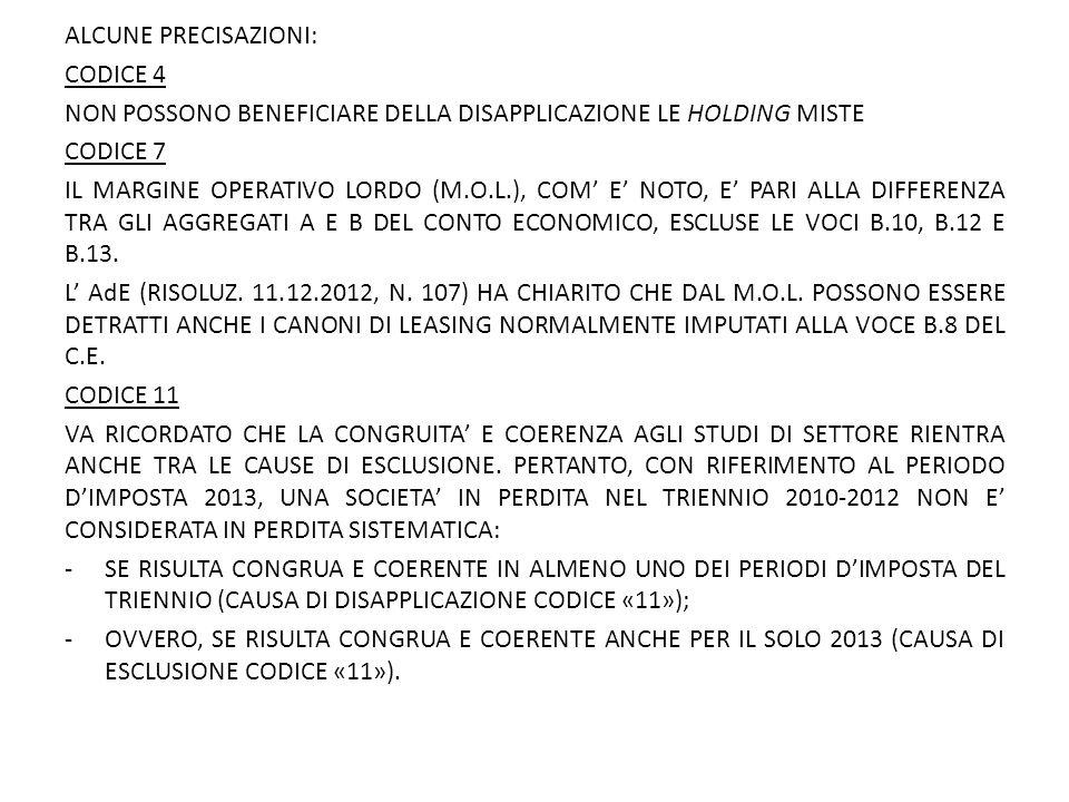 ALCUNE PRECISAZIONI: CODICE 4 NON POSSONO BENEFICIARE DELLA DISAPPLICAZIONE LE HOLDING MISTE CODICE 7 IL MARGINE OPERATIVO LORDO (M.O.L.), COM' E' NOTO, E' PARI ALLA DIFFERENZA TRA GLI AGGREGATI A E B DEL CONTO ECONOMICO, ESCLUSE LE VOCI B.10, B.12 E B.13.