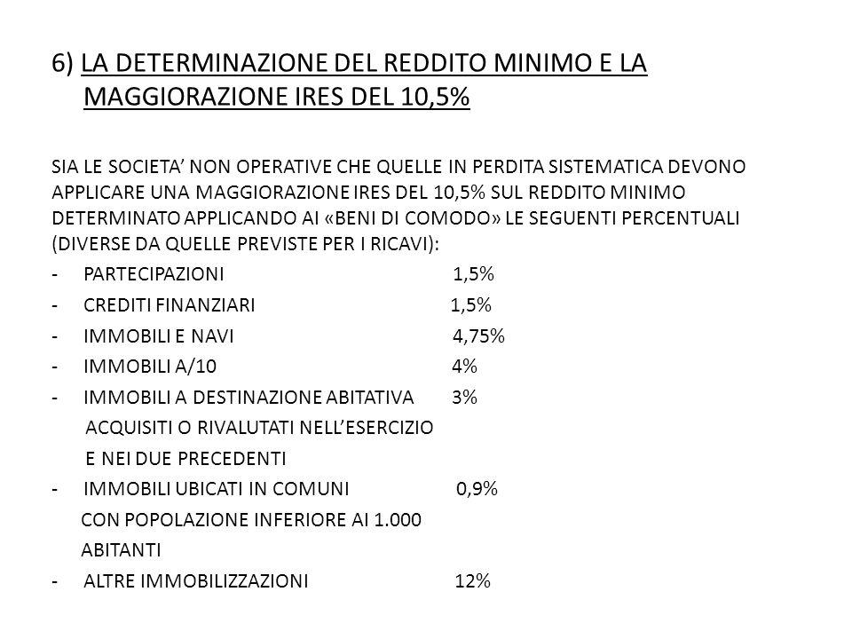 6) LA DETERMINAZIONE DEL REDDITO MINIMO E LA MAGGIORAZIONE IRES DEL 10,5% SIA LE SOCIETA' NON OPERATIVE CHE QUELLE IN PERDITA SISTEMATICA DEVONO APPLICARE UNA MAGGIORAZIONE IRES DEL 10,5% SUL REDDITO MINIMO DETERMINATO APPLICANDO AI «BENI DI COMODO» LE SEGUENTI PERCENTUALI (DIVERSE DA QUELLE PREVISTE PER I RICAVI): -PARTECIPAZIONI 1,5% -CREDITI FINANZIARI 1,5% -IMMOBILI E NAVI 4,75% -IMMOBILI A/10 4% -IMMOBILI A DESTINAZIONE ABITATIVA 3% ACQUISITI O RIVALUTATI NELL'ESERCIZIO E NEI DUE PRECEDENTI -IMMOBILI UBICATI IN COMUNI 0,9% CON POPOLAZIONE INFERIORE AI 1.000 ABITANTI -ALTRE IMMOBILIZZAZIONI 12%