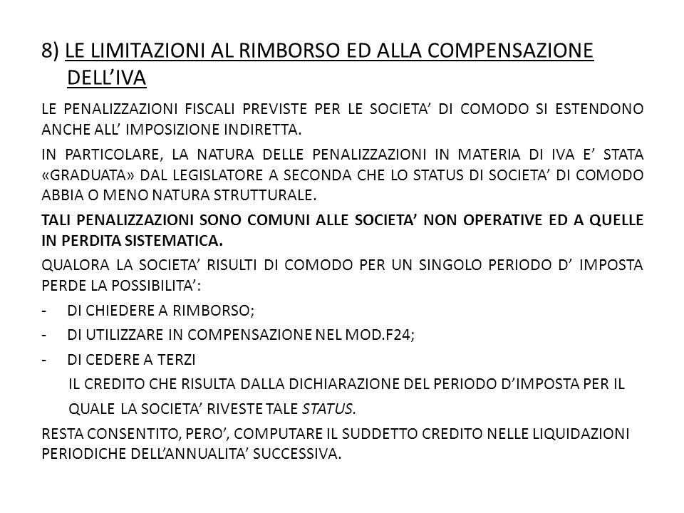 8) LE LIMITAZIONI AL RIMBORSO ED ALLA COMPENSAZIONE DELL'IVA LE PENALIZZAZIONI FISCALI PREVISTE PER LE SOCIETA' DI COMODO SI ESTENDONO ANCHE ALL' IMPOSIZIONE INDIRETTA.