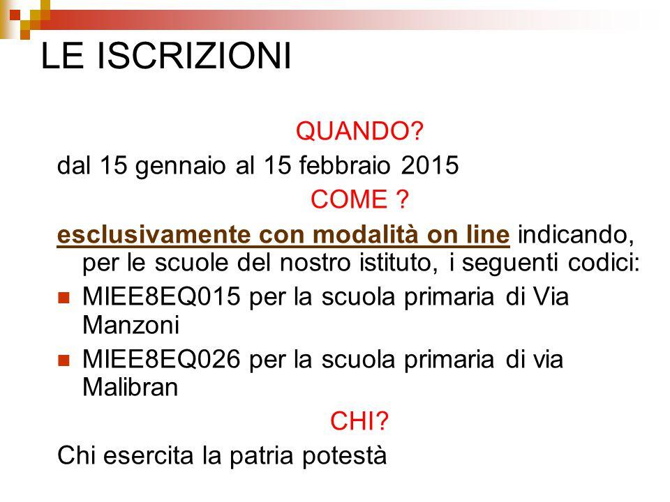 LE ISCRIZIONI QUANDO. dal 15 gennaio al 15 febbraio 2015 COME .