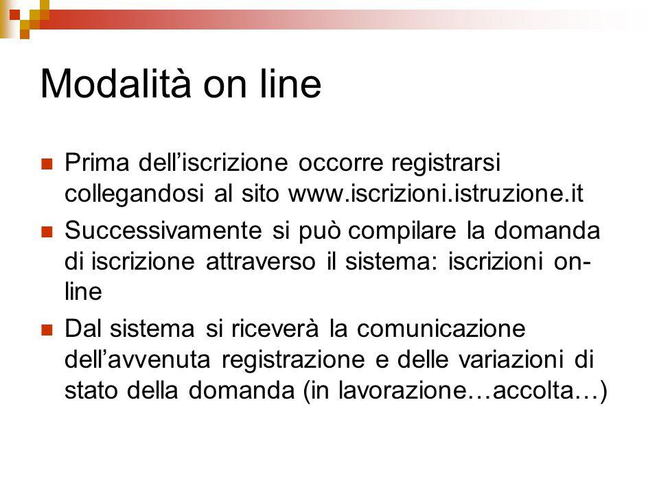Modalità on line Prima dell'iscrizione occorre registrarsi collegandosi al sito www.iscrizioni.istruzione.it Successivamente si può compilare la doman