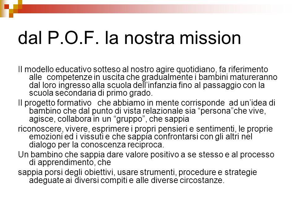dal P.O.F. la nostra mission Il modello educativo sotteso al nostro agire quotidiano, fa riferimento alle competenze in uscita che gradualmente i bamb