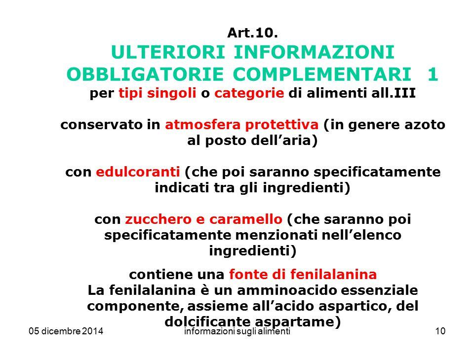 05 dicembre 2014informazioni sugli alimenti10 Art.10. ULTERIORI INFORMAZIONI OBBLIGATORIE COMPLEMENTARI 1 per tipi singoli o categorie di alimenti all