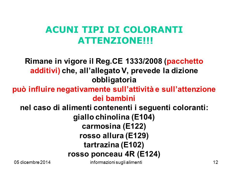 05 dicembre 2014informazioni sugli alimenti12 ACUNI TIPI DI COLORANTI ATTENZIONE!!! Rimane in vigore il Reg.CE 1333/2008 (pacchetto additivi) che, all