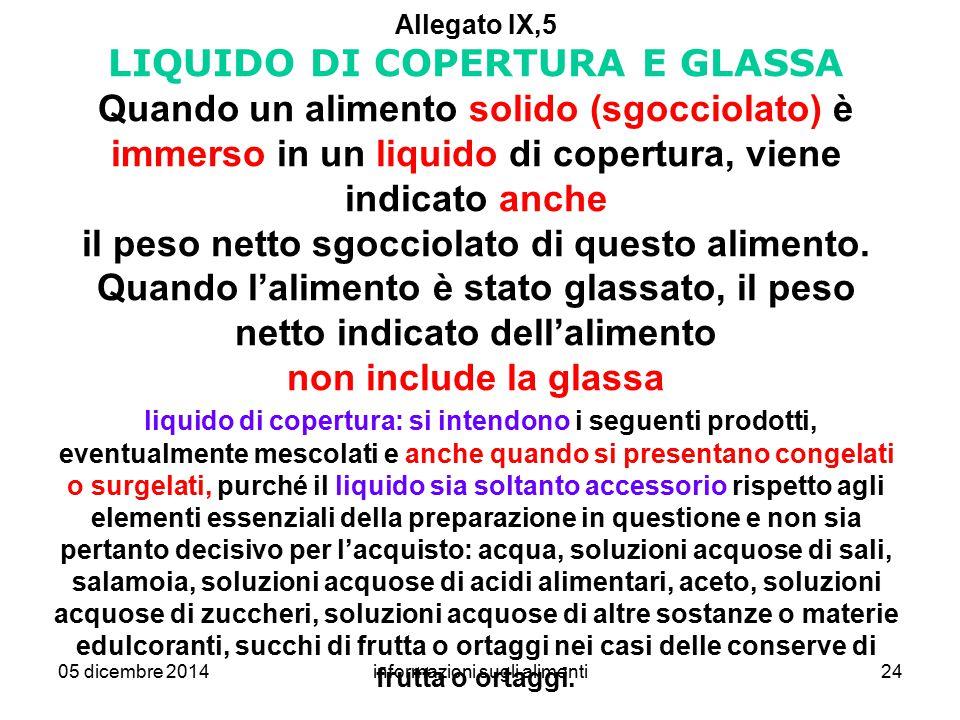 05 dicembre 2014informazioni sugli alimenti24 Allegato IX,5 LIQUIDO DI COPERTURA E GLASSA Quando un alimento solido (sgocciolato) è immerso in un liqu