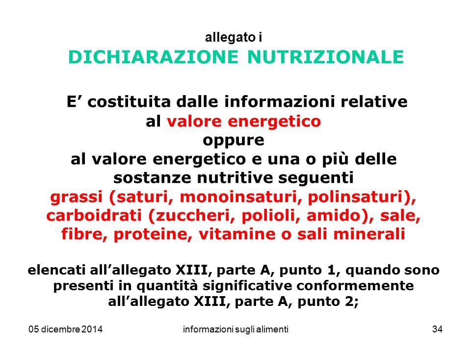 05 dicembre 2014informazioni sugli alimenti34 allegato i DICHIARAZIONE NUTRIZIONALE E' costituita dalle informazioni relative al valore energetico opp