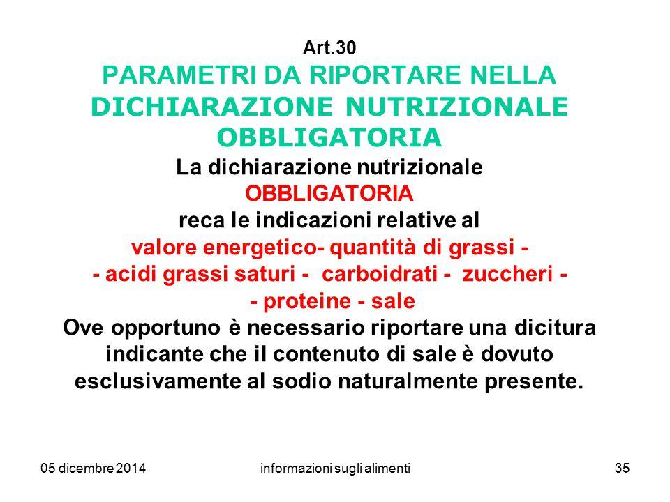 05 dicembre 2014informazioni sugli alimenti35 Art.30 PARAMETRI DA RIPORTARE NELLA DICHIARAZIONE NUTRIZIONALE OBBLIGATORIA La dichiarazione nutrizional