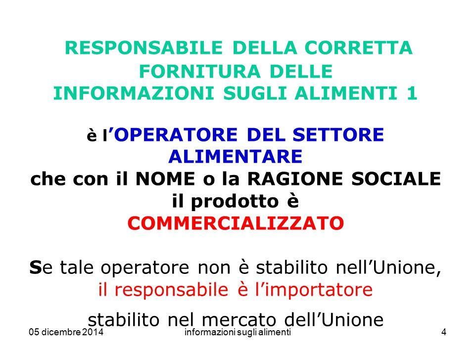 05 dicembre 2014informazioni sugli alimenti45 PRODOTTI ALIMENTARI NON PRECONFEZIONATI Da bozza DPCM 1.