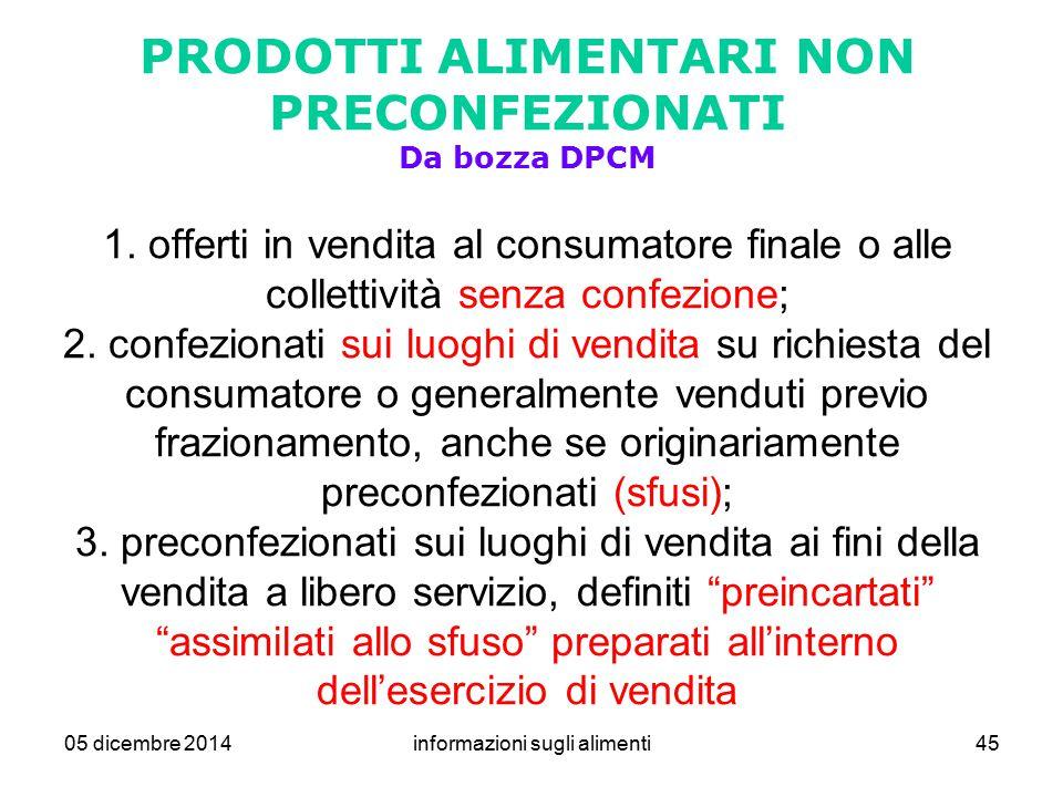 05 dicembre 2014informazioni sugli alimenti45 PRODOTTI ALIMENTARI NON PRECONFEZIONATI Da bozza DPCM 1. offerti in vendita al consumatore finale o alle