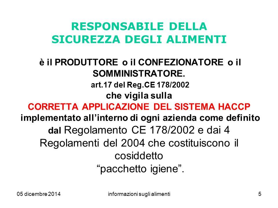 05 dicembre 2014informazioni sugli alimenti5 RESPONSABILE DELLA SICUREZZA DEGLI ALIMENTI è il PRODUTTORE o il CONFEZIONATORE o il SOMMINISTRATORE. art