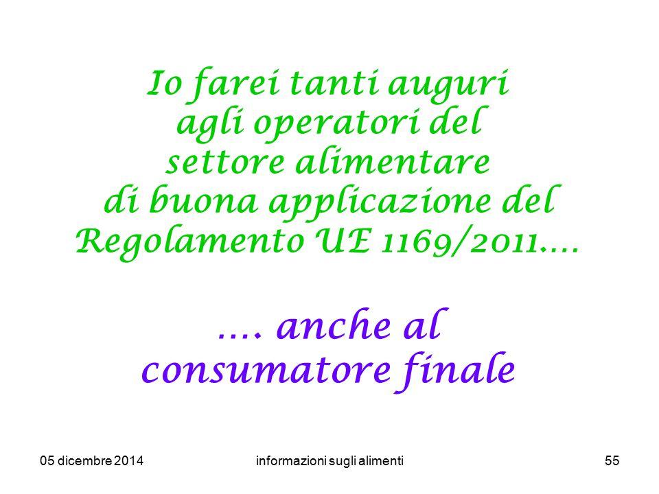 05 dicembre 2014informazioni sugli alimenti55 Io farei tanti auguri agli operatori del settore alimentare di buona applicazione del Regolamento UE 116