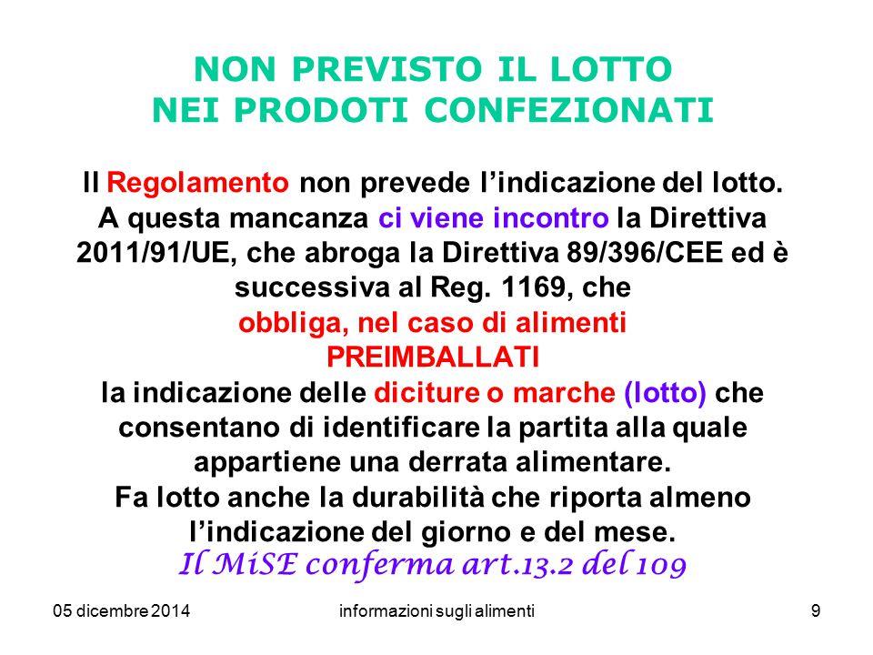 05 dicembre 2014informazioni sugli alimenti9 NON PREVISTO IL LOTTO NEI PRODOTI CONFEZIONATI ll Regolamento non prevede l'indicazione del lotto. A ques