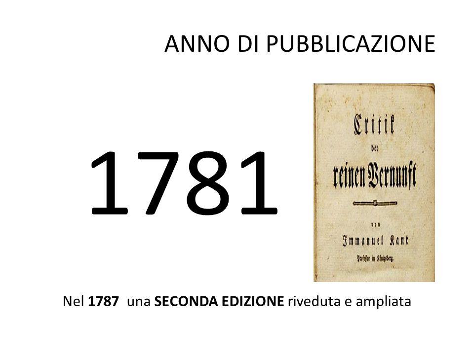 1781 ANNO DI PUBBLICAZIONE Nel 1787 una SECONDA EDIZIONE riveduta e ampliata