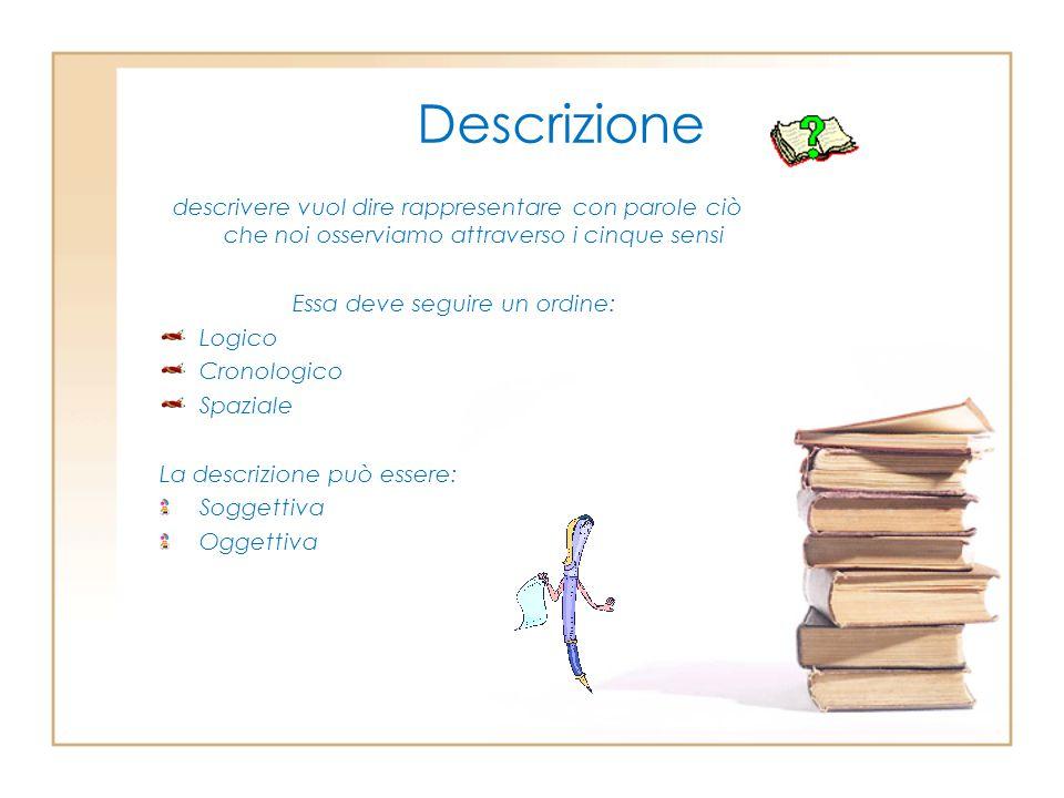 Descrizione descrivere vuol dire rappresentare con parole ciò che noi osserviamo attraverso i cinque sensi Essa deve seguire un ordine: Logico Cronolo