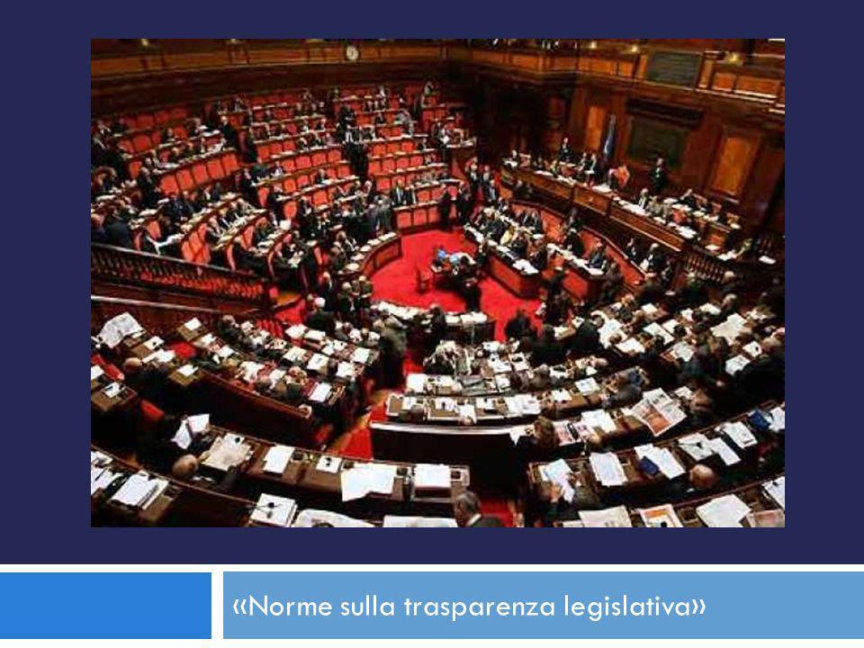 «Norme sulla trasparenza legislativa»