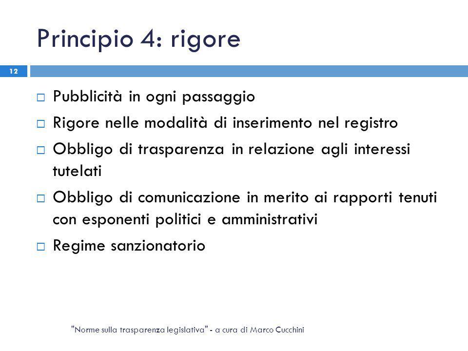 Principio 4: rigore  Pubblicità in ogni passaggio  Rigore nelle modalità di inserimento nel registro  Obbligo di trasparenza in relazione agli inte