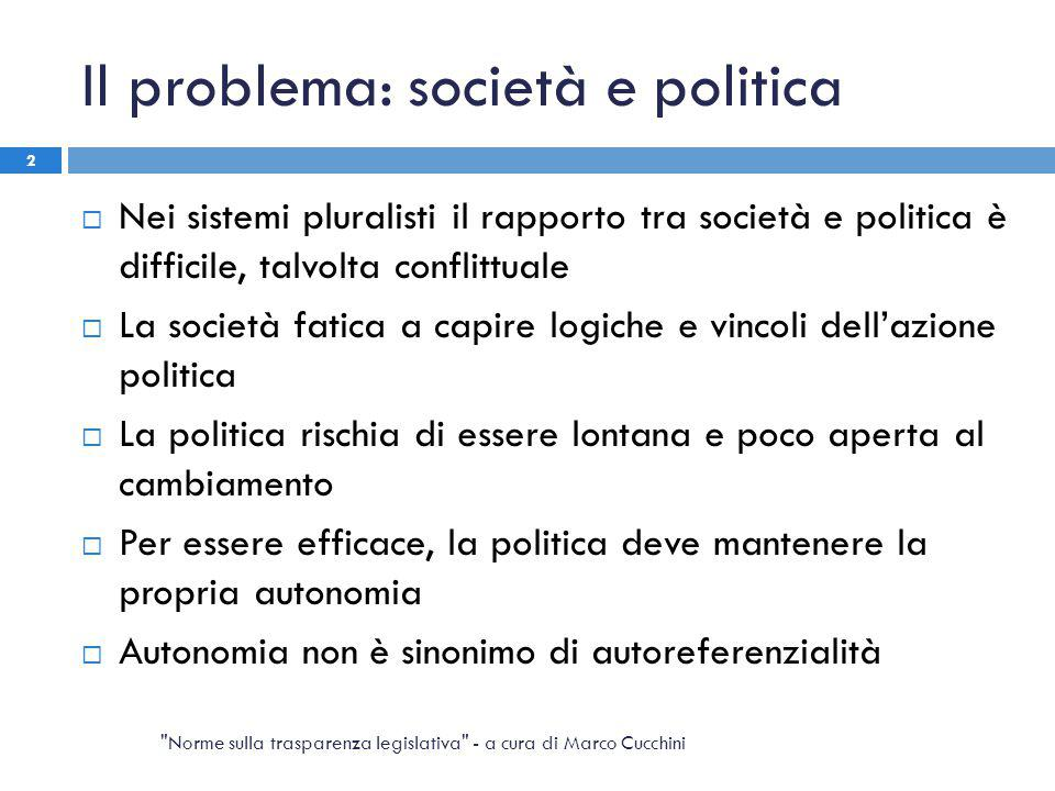 Il problema: società e politica  Nei sistemi pluralisti il rapporto tra società e politica è difficile, talvolta conflittuale  La società fatica a c