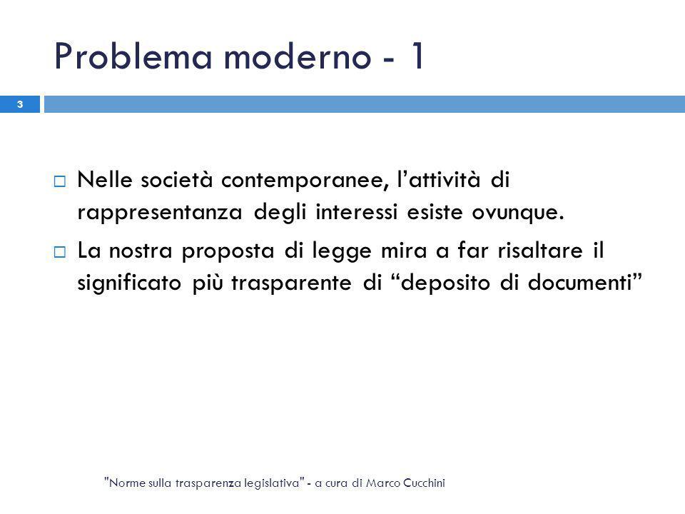 Problema moderno - 1  Nelle società contemporanee, l'attività di rappresentanza degli interessi esiste ovunque.  La nostra proposta di legge mira a