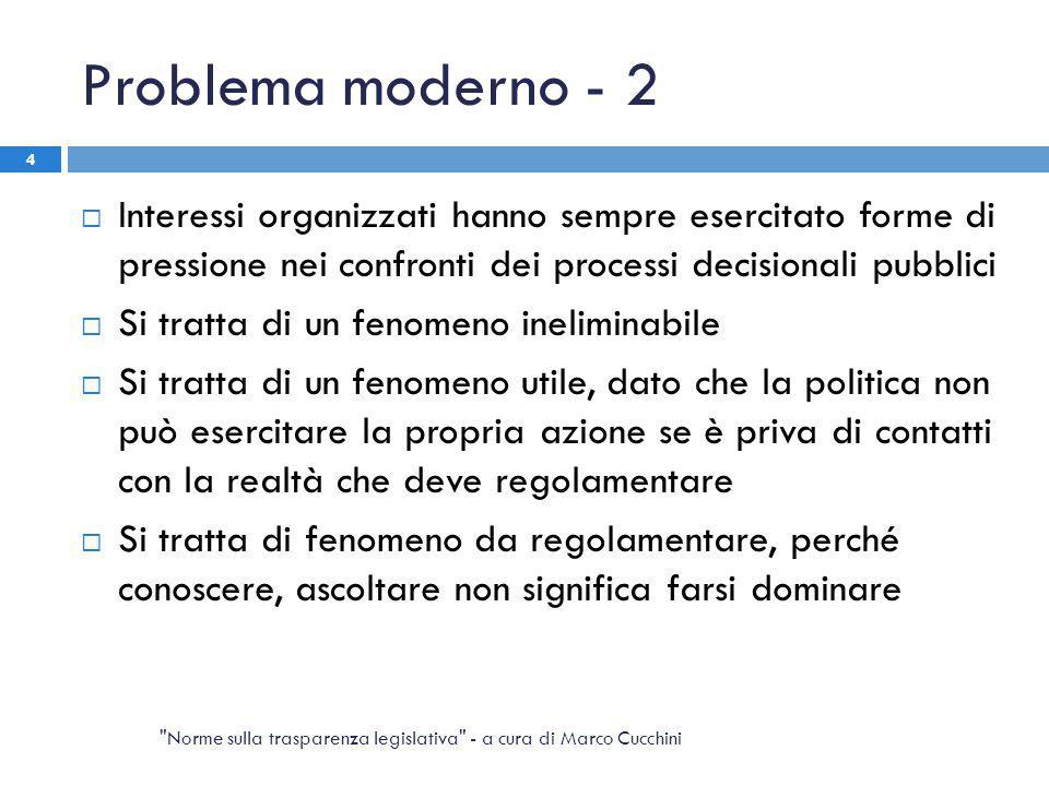 Problema moderno - 2  Interessi organizzati hanno sempre esercitato forme di pressione nei confronti dei processi decisionali pubblici  Si tratta di
