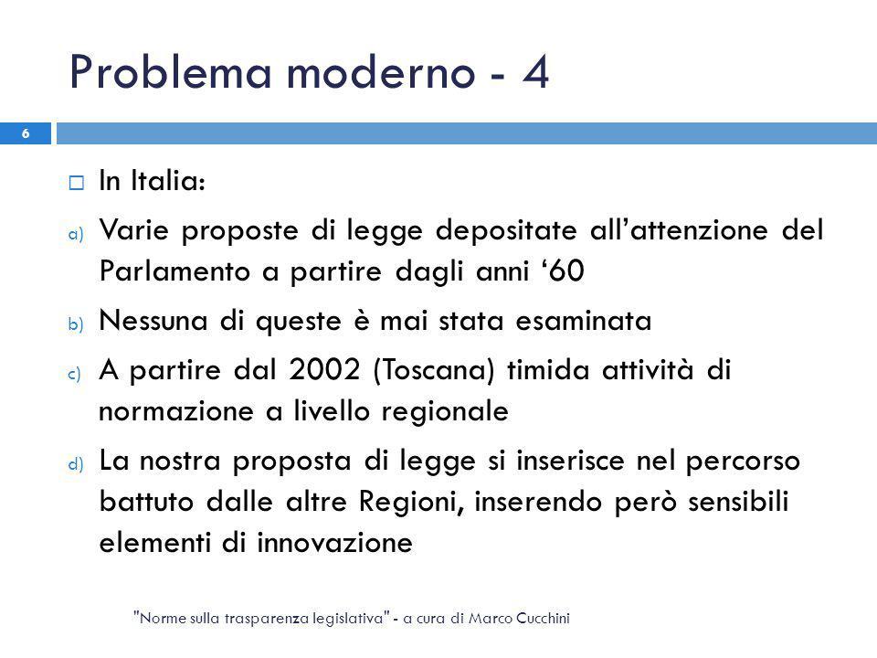 Problema moderno - 4  In Italia: a) Varie proposte di legge depositate all'attenzione del Parlamento a partire dagli anni '60 b) Nessuna di queste è
