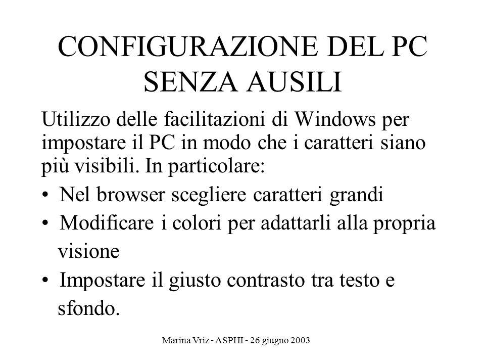 Marina Vriz - ASPHI - 26 giugno 2003 CONFIGURAZIONE DEL PC SENZA AUSILI Utilizzo delle facilitazioni di Windows per impostare il PC in modo che i cara