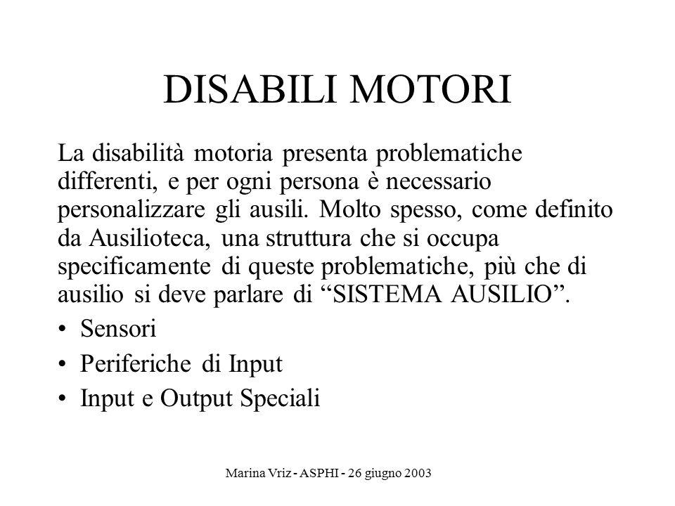 Marina Vriz - ASPHI - 26 giugno 2003 DISABILI MOTORI La disabilità motoria presenta problematiche differenti, e per ogni persona è necessario personal