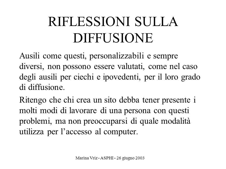 Marina Vriz - ASPHI - 26 giugno 2003 RIFLESSIONI SULLA DIFFUSIONE Ausili come questi, personalizzabili e sempre diversi, non possono essere valutati,