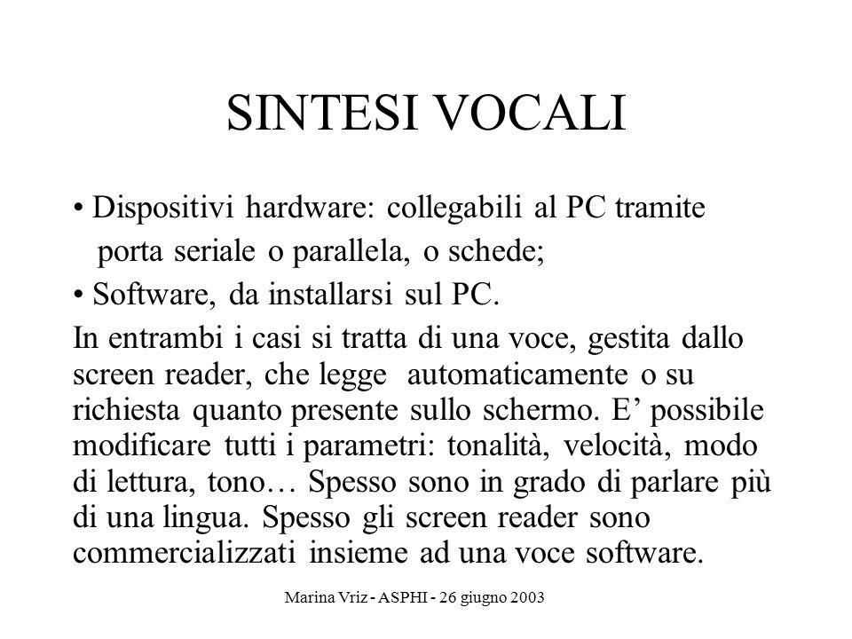 Marina Vriz - ASPHI - 26 giugno 2003 SINTESI VOCALI Dispositivi hardware: collegabili al PC tramite porta seriale o parallela, o schede; Software, da