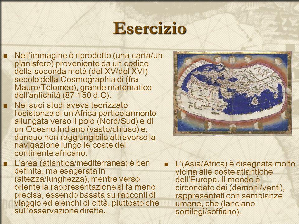 Esercizio Nell'immagine è riprodotto (una carta/un planisfero) proveniente da un codice della seconda metà (del XV/del XVI) secolo della Cosmographia