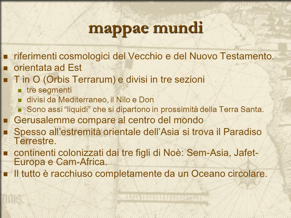 mappae mundi riferimenti cosmologici del Vecchio e del Nuovo Testamento. orientata ad Est T in O (Orbis Terrarum) e divisi in tre sezioni tre segmenti