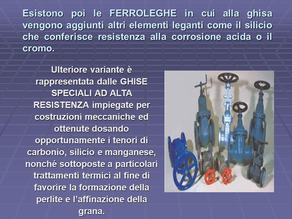 Esistono poi le FERROLEGHE in cui alla ghisa vengono aggiunti altri elementi leganti come il silicio che conferisce resistenza alla corrosione acida o