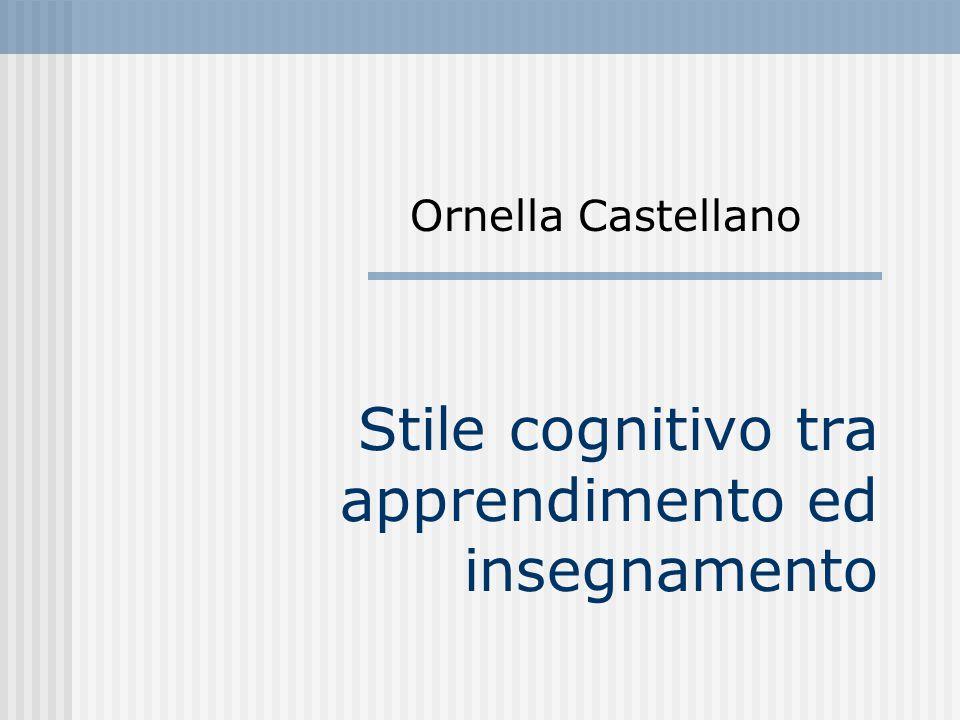 Stile cognitivo tra apprendimento ed insegnamento Ornella Castellano
