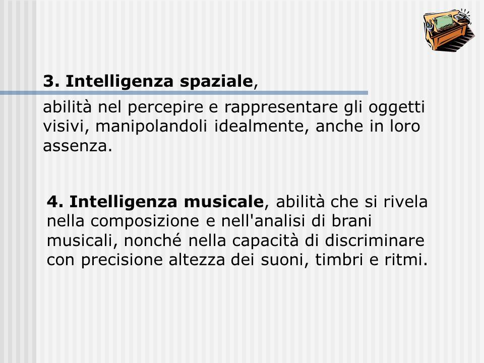 4. Intelligenza musicale, abilità che si rivela nella composizione e nell'analisi di brani musicali, nonché nella capacità di discriminare con precisi