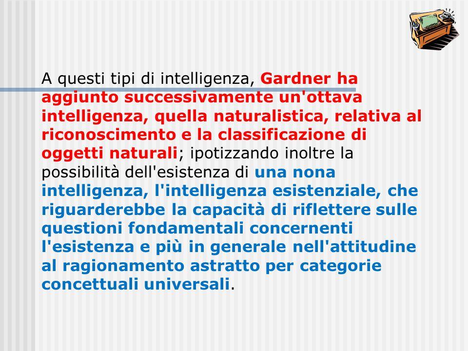 A questi tipi di intelligenza, Gardner ha aggiunto successivamente un'ottava intelligenza, quella naturalistica, relativa al riconoscimento e la class