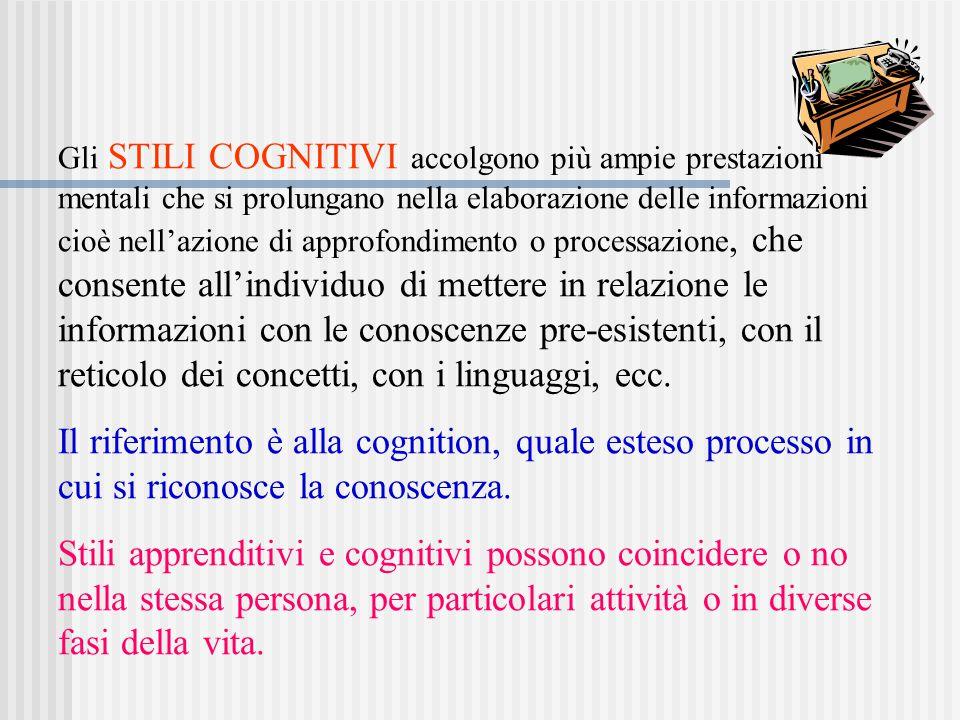 Gli STILI COGNITIVI accolgono più ampie prestazioni mentali che si prolungano nella elaborazione delle informazioni cioè nell'azione di approfondiment