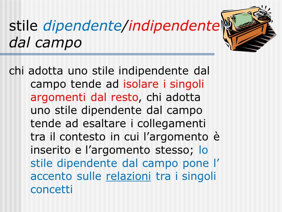 stile dipendente/indipendente dal campo chi adotta uno stile indipendente dal campo tende ad isolare i singoli argomenti dal resto, chi adotta uno sti
