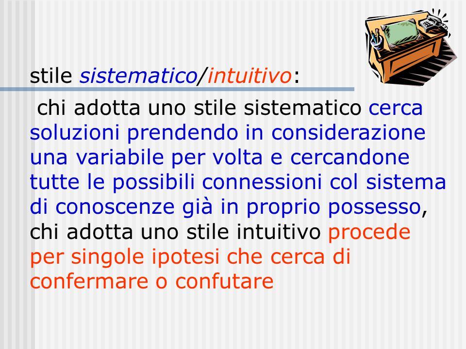 stile sistematico/intuitivo: chi adotta uno stile sistematico cerca soluzioni prendendo in considerazione una variabile per volta e cercandone tutte l
