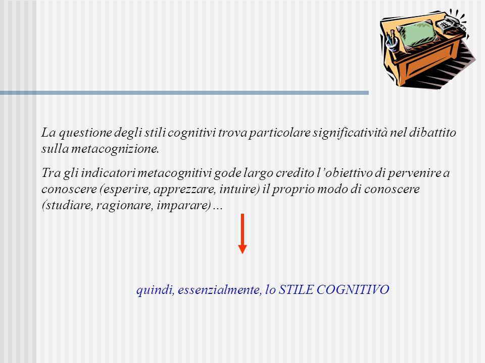 La questione degli stili cognitivi trova particolare significatività nel dibattito sulla metacognizione. Tra gli indicatori metacognitivi gode largo c