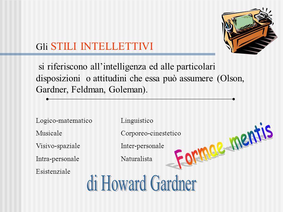 Gli STILI INTELLETTIVI si riferiscono all'intelligenza ed alle particolari disposizioni o attitudini che essa può assumere (Olson, Gardner, Feldman, G