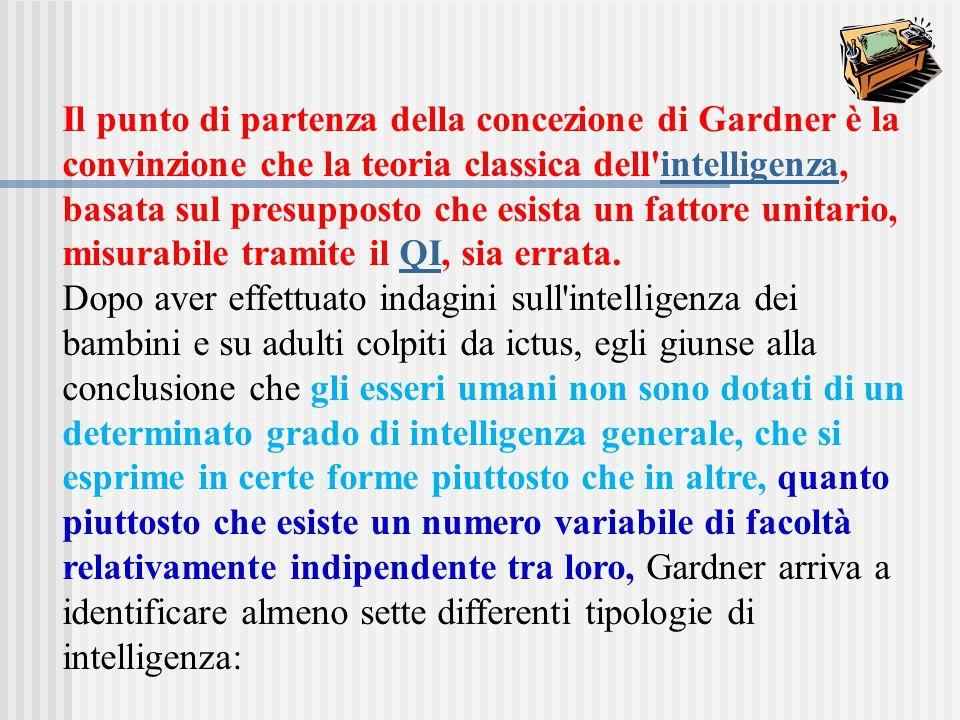 Il punto di partenza della concezione di Gardner è la convinzione che la teoria classica dell'intelligenza, basata sul presupposto che esista un fatto